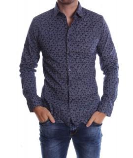 Pánska elastická košeľa VZOR 01. - tmavomodrá