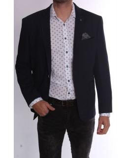 Pánske elastické športovo-elegantné sako (3587) - tmavomodré