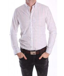 Pánska kockovaná košeľa - biela
