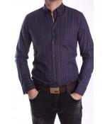 Pánska kockovaná košeľa - tmavomodrá