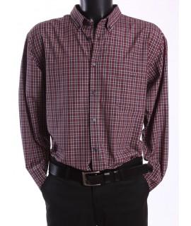 Pánska kockovaná košeľa - bordovo-béžová