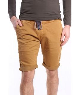 Pánske elastické krátke nohavice na gumu M.SARA (KG3671-20) - okrové