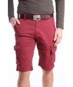Pánske elastické krátke nohavice s vreckami M.SARA (KG3588) - bordové