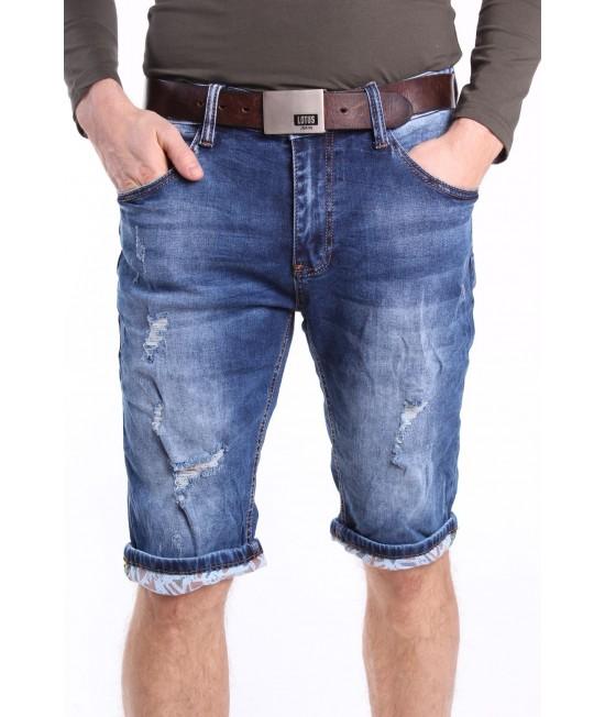 Pánske krátke elastické rifľové nohavice M.SARA DENIM (KR1108) - modré