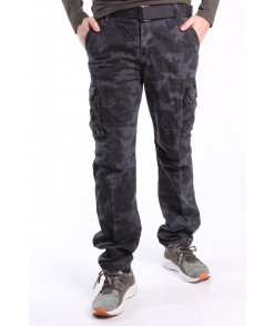 Pánske ARMY maskáčové nohavice s vreckami a s opaskom LOSHAN (8103-85) - MID GREY sivé