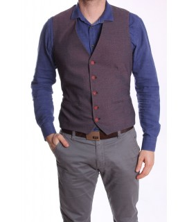 Pánska vesta MODEL 5023 - bordovo-biela