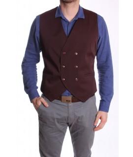 Pánska vesta s dvojradovými gombíkmi MODEL 5030 - bordová