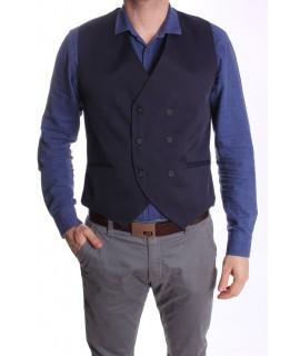 Pánska vesta s dvojradovými gombíkmi MODEL 5030 - tmavomodrá