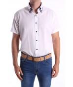Pánska košeľa s krátkym rukávom, s tmavomodrým lemom SLIM FIT - biela