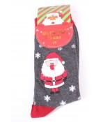 Vianočné bavlnené ponožky (SF5366) - Mikuláš - tmavosivé