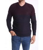 Pánsky pulóver (014040) POOLL PARK - sivo-bordový