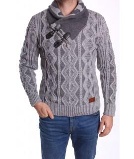 Pánsky pletený pulóver so zipsom (5120) CE&CE - sivý