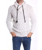 Pánsky pletený pulóver so zipsom (5132) CE&CE - bledosivo-biela