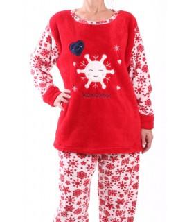 Dámske flísové pyžamo - 7115 - červené