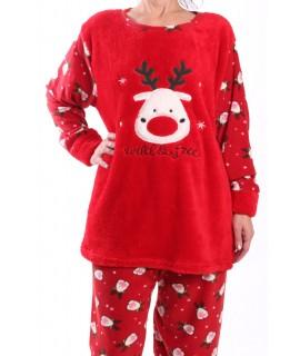 Dámske flísové pyžamo - 7110 - červené