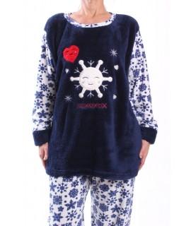 Dámske flísové pyžamo - 7115 - tmavomodré