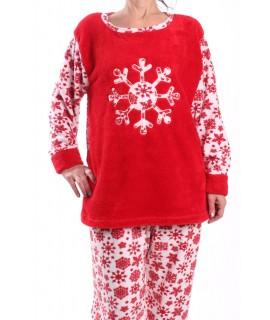 Dámske flísové pyžamo - 7116 - červené