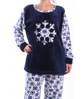 Dámske flísové pyžamo - 7116 - tmavomodré