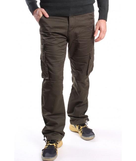 Pánske elastické zateplené ARMY nohavice (Z2115M-68) LOSHAN - vojensko zelené