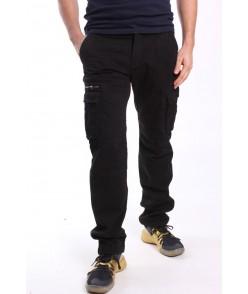 Pánske elastické zateplené ARMY nohavice (8082M-26) LOSHAN - čierne