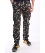 Pánske elastické zateplené ARMY nohavice (8083M-72) LOSHAN - maskáčové - bledozelené