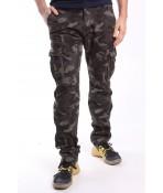Pánske elastické zateplené ARMY nohavice (8083M-54) LOSHAN - maskáčové - zelené