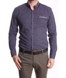 Pánska elastická košeľa vzorovaná so sivým lemom - tmavomodrá RAWLUCCI