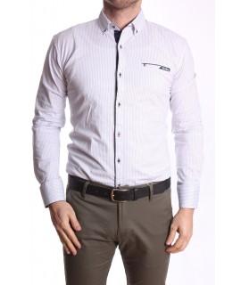 Pánska elastická košeľa vzorovaná s tmavomodrým lemom - biela RAWLUCCI