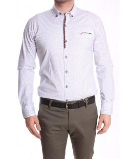 Pánska elastická košeľa vzorovaná s červeno-čiernym lemom - biela RAWLUCCI