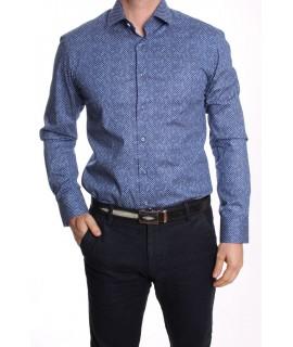 Pánska elastická košeľa vzorovaná KOŠELUS - SLIM - modrá (v. 176-182 cm)