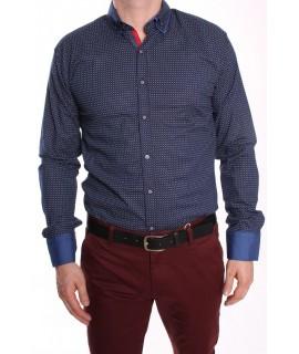 Pánska elastická košeľa vzorovaná s červeným lemom - tmavomodrá RAWLUCCI