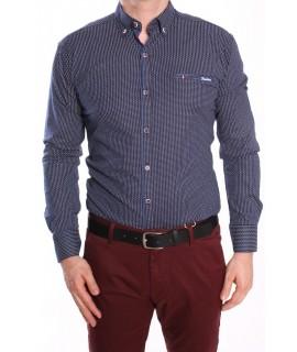 Pánska elastická košeľa vzorovaná s modrým lemom - tmavomodrá RAWLUCCI