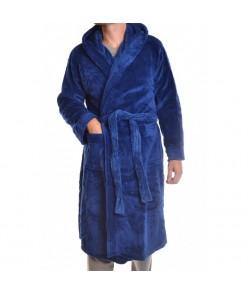 Pánsky župan s kapucňou nadmerný - modrý