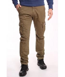 Pánske elastické INDUSTRIAL nohavice s vreckami LOSHAN (6618-32) - khaky