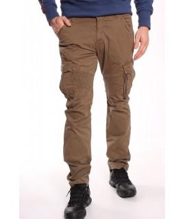 Pánske elastické INDUSTRIAL nohavice s vreckami LOSHAN (8102-94) - khaky