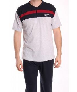 Pánske pyžamo s krátkym rukávom VZOR 011 - sivo-modré
