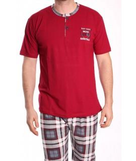 Pánske pyžamo s krátkym rukávom VZOR 012 - bordové