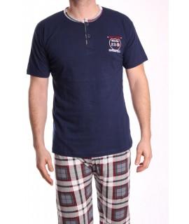 Pánske pyžamo s krátkym rukávom VZOR 013 - tmavomodré