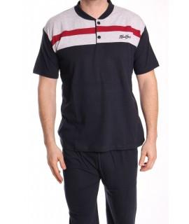Pánske pyžamo s krátkym rukávom VZOR 014 - sivo-modré