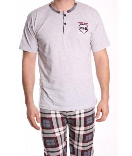 Pánske pyžamo s krátkym rukávom VZOR 015 - bledosivé