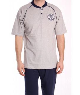 Pánske pyžamo nadmerné s krátkym rukávom VZOR 010 - sivé