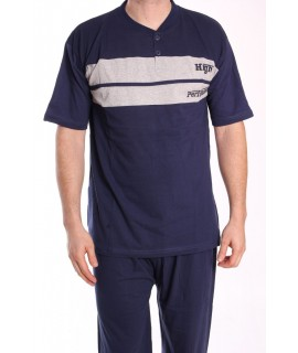 Pánske pyžamo nadmerné s krátkym rukávom VZOR 011 - sivo-modré