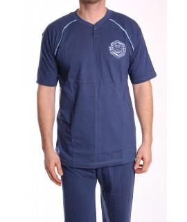 Pánske pyžamo nadmerné s krátkym rukávom VZOR 012 - modré