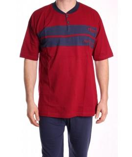 Pánske pyžamo nadmerné s krátkym rukávom VZOR 013 - bordové