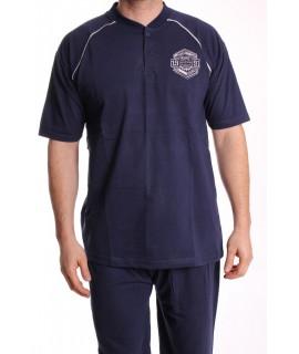 Pánske pyžamo nadmerné s krátkym rukávom VZOR 015 - tmavomodré