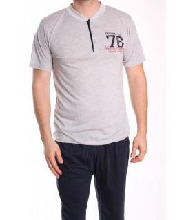 Pánske pyžamo 3-dielne SNC-8020 - bledosivé