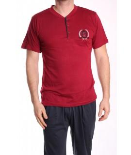 Pánske pyžamo 3-dielne SNC-8021 - bordové