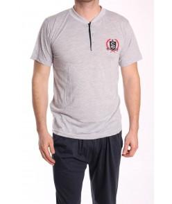 Pánske pyžamo 3-dielne SNC-8022 - bledosivé