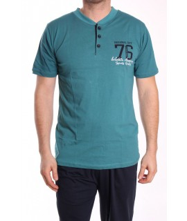 Pánske pyžamo 3-dielne SNC-8019 - tyrkysovo-zelené