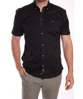 Pánska elastická košeľa s bodkovaným lemom RAWLUCCI - čierna